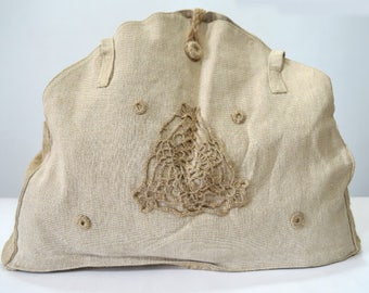 Handmade purse - made of linen with original decoration with crochet