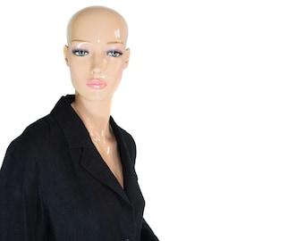 Vintage Soya women blazer black 100% linen