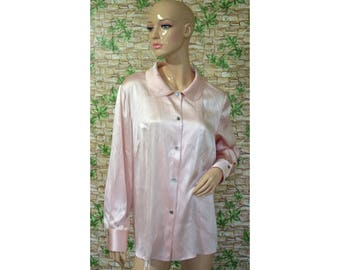 Vintage Elegance women shirt blouse light pink silk