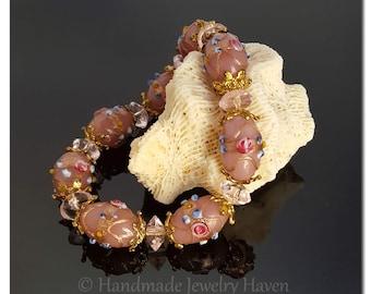 Pink Bracelet, Lampwork Bracelet, Beaded Bracelet, Spring Jewelry,Floral Jewelry, Flower Bracelet, Handmade Jewelry,Mothers Day Gift