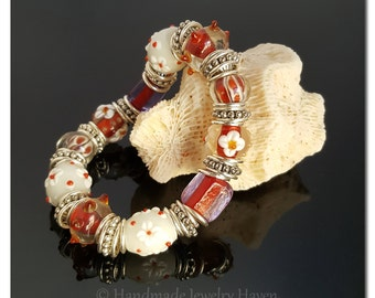 Flower Bracelet, Lampwork Bracelet, Beaded Bracelet, Floral Bracelet, Red Jewelry, Handmade Jewelry, Mothers Day, Red Bracelet