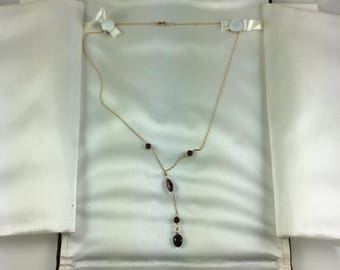 Vintage  14k gold amethyst and pearl necklace