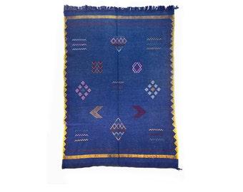 "BERBER RUG • Sabra Carpet ""AGOUTI""| kilim |handmade moroccan carpet | dark denim | vintage rug | handwoven | cactus silk| contemporary rug"