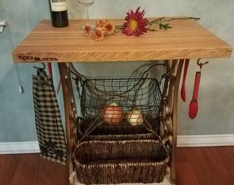 Butcher Block Kitchen Island Storage Vintage Antique Affordable