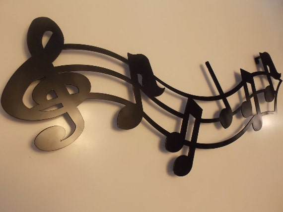 Metal Wall Decor With Musical Notes : Metal crafted music notes w treble clef wall art hanging home