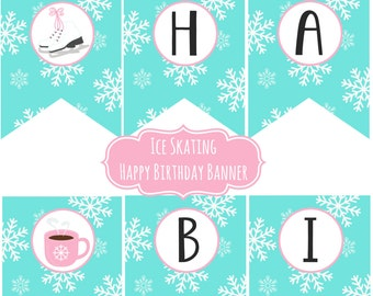 Ice Skating Party Happy Birthday Banner Aqua Pink Lace up Your Skates