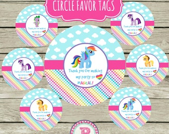 My Little Pony Birthday Party Circle Favor Tags Treat Bag Thank You Tag Aqua Pink Rainbows Clouds Magical