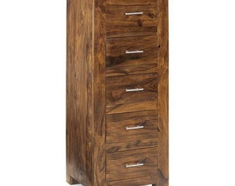 Cube tall narrow 5 chest of wooden drawers - Handcrafted Indian hardwood