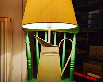 Quirky, white, enameled milk jug lamp