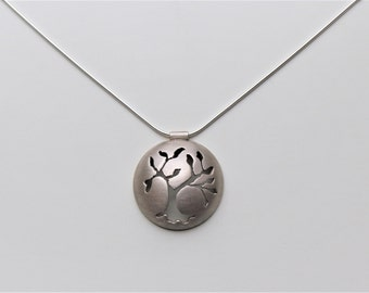 Tree of Life  - Sterling Silver domed pendant necklace