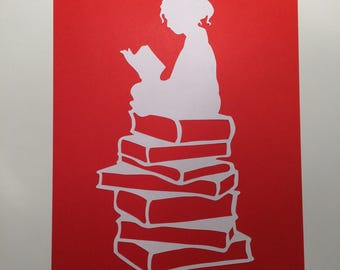 Girl reading a book papercut (Red)