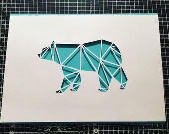 Geomtric Polar Bear Papercut