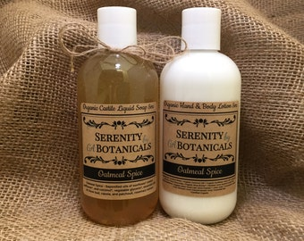 Gift Set Organic Lotion & Liquid Castile Soap (6 Scent Choices)