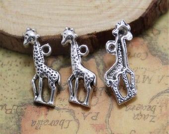 15pcs Giraffe Charms silver tone Animal Charm Pendants deer charm pendants/connector 25mm ASD0275