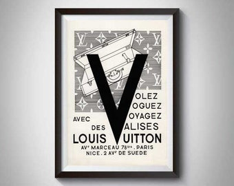 Louis Vuitton Vintage Print , French Fashion Poster, Retro Ad, Paris Fashion,  Louis Vuitton Print,  Vintage Fashion Advert