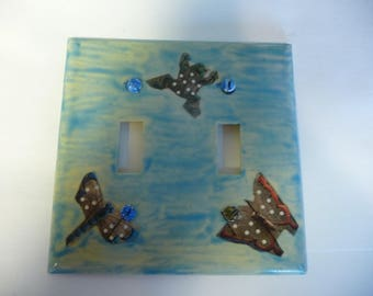 Switchplate- Frog, Butterfly, & Firefly- My Unique Decoupage and Hand Painted switch plate