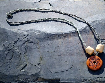 Cherry Wood Atom Necklace, hand-burned