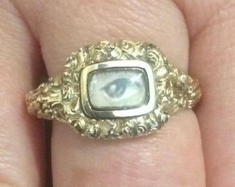 Antique Lovers Eye Miniature Portrait Gold Ring