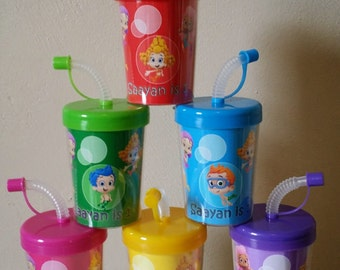 Bubble Guppies Personalized Birthday Party Favor Cups Lids & Straws Set of 6, Bubble Guppies Party Favor Treat Cups