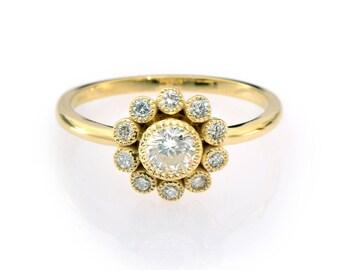 Diamond Engagement Ring, Halo Flower Diamond Ring, Promise Ring, Vintage Engagement Ring, Diamond Flower Ring, Real Natural Diamond