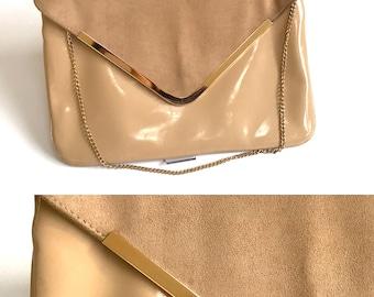 Vintage Vegan Patent Leather Bag Envelope Clutch Women's Shoulder Bag Summer Bag Beige Clutch Purse Bag Small Handbag Gift for Her