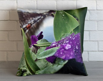 Flowers on Amsterdam Canal 2 Pillow