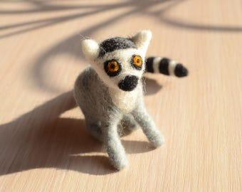 Lemur Figurine gray needle felted lemur statuette, gift for kids Needle Felt Animal soft toy handmade plaything, gift for children