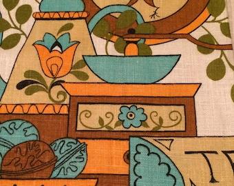 Mid Century Modern Linen Tea Towel
