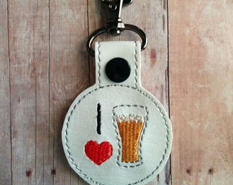 I Heart Beer Key Chain, White Vinyl With Embroidery, Choice of Key Ring or Swivel Clip With Snap, Gift for Beer Drinker, I Love Beer