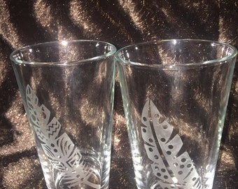 Etched Feather Pint Glasses