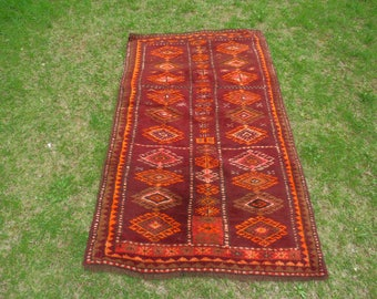 Turkish Rug, Vintage Rug, Soft Rug, Tribal Rug, Anatolian Rug, Vintage Turkish Rug, Pastel Rug, Decorative Rug, Burgundy Rug