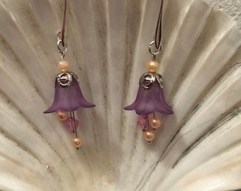 Purple bellflower earrings
