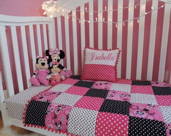 Minnie Mouse Crib bedding,Personalized Pillow,Patchwork Quilt.
