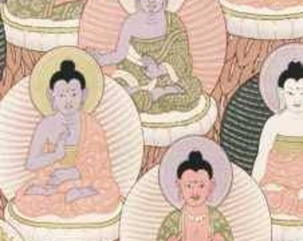 rose Buddha fabric of yoga Buddha fabric pink alexander henry cotton meditation