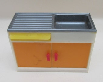 Vintage 1970s Plastic Dolls House Miniature Kitchen Sink Unit with Cutlery in Drawer