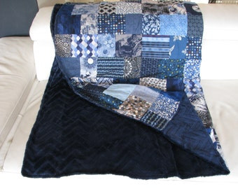 Blue PLAID PAYCHWORK lined Navy minky - quilt