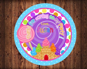 Candyland Circle Tags , Personalized Candyland Labels,   Party Labels, Printable Supplies,  Party Supplies