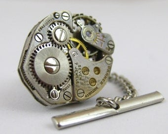 Vintage Steampunk Watch Movement TIE TACK Tie Clip Mixed Media Assemblage Jewelry L9