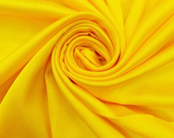 "Yellow Fabric, Dress Material, Home Decor Fabric, Sewing Accessories, Quilting Fabric, 42"" Inch Satin Fabric By The Yard FSS195A"