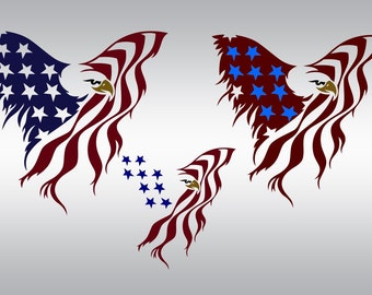 American flag eagle thin blue line svg Clipart Cut File Silhouette Cameo Cricut and Vinyl File cutting Digital cuts file DXF Png Pdf Eps