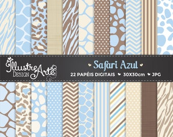 50% OFF - Digital Paper Safari Blue