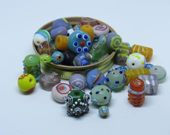 Blown Glass etc: Mixed Beads Lot of 80