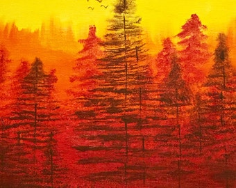 Acryliccrylic paint - sunset /forest