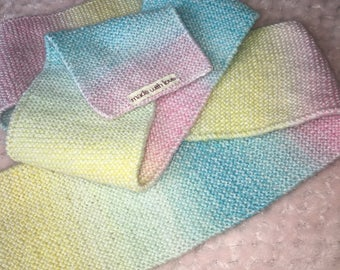 Pastel Rainbow Hand Knitted Scarf.