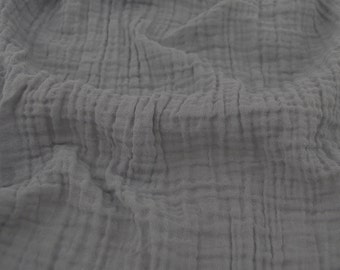 Embrace Double Gauze Fabric in Graphite (grey) - 100% cotton muslin swaddle fabric by the yard