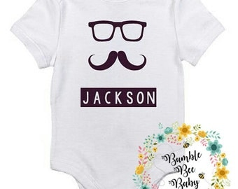 """Monogramed, Personalized, Mustashe, Baby Bodysuit, Baby Gift, Shower Gift or """"Just Because You Want To"""""""