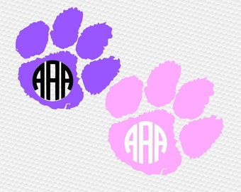 Paw Tiger monogram SVG Clipart Cut Files Silhouette Cameo Svg for Cricut and Vinyl File cutting Digital cuts file DXF Png Pdf Eps