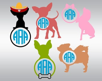 Chihuahua dog monogram SVG Clipart Cut Files Silhouette Cameo Svg for Cricut and Vinyl File cutting Digital cuts file DXF Png Pdf Eps
