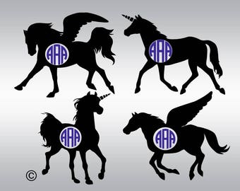 Pegasus svg, Unicorn svg, Pegasus silhouette, Unicorn silhouette, Unicorn clipart, Pegasus clipart, Cricut, Cameo, Svg, DXF, Png, Eps