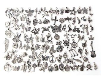 100pcs Bulk Lots Tibetan Silver Mix Charm Pendants Jewelry DIY